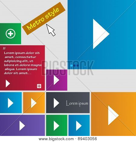 Play Button Icon Sign. Metro Style Buttons. Modern Interface Website Buttons With Cursor Pointer. Ve