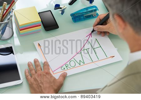 Businessman Drawing Graph Of Growth