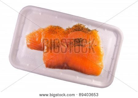 Pieces of a salmon