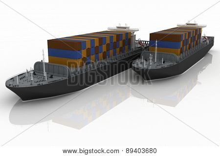 Cargo ships. 3D render Illustration.
