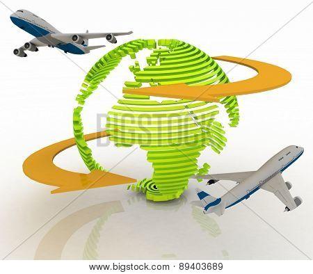 Passenger jet airplanes travels around the world