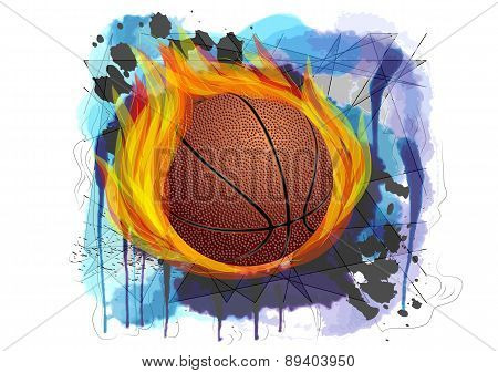 Basketball On Grunge Background
