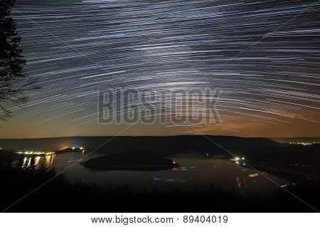 Star Trails Above Lake