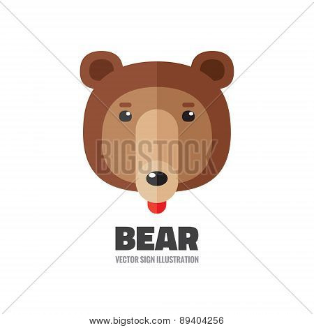 Bear head - vector logo illustration in flat style.