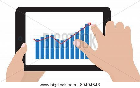 Tablet Computer With Business Chart vector