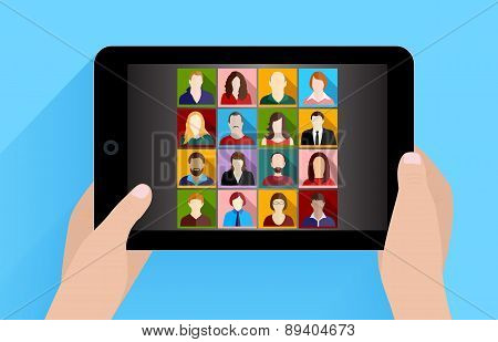 Social Network On Tablet Computer vector