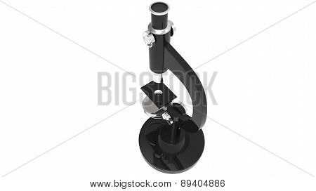Black scientific microscope from behind