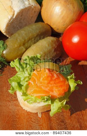 Slice Of Baguette With Smoked Salmon Filet