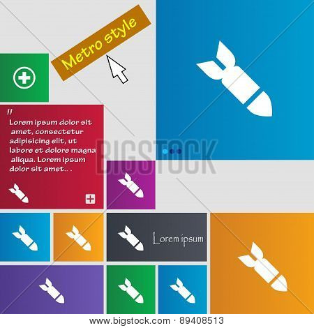 Missile,rocket Weapon Icon Sign. Metro Style Buttons. Modern Interface Website Buttons With Cursor P
