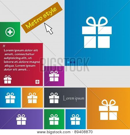 Gift Box Icon Sign. Metro Style Buttons. Modern Interface Website Buttons With Cursor Pointer. Vecto