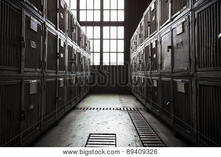 Dirty, Steel Tool Cabinets In A Factory