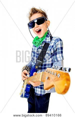 Modern boy teenager playing electric guitar and sing on a stage with expression. Rock music. Isolated over white.