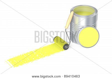 Can With Yellow Paint And Roller Brush