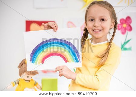Girl With Picture Of Rainbow