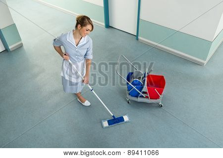 Janitor With Mop And Cleaning Equipment