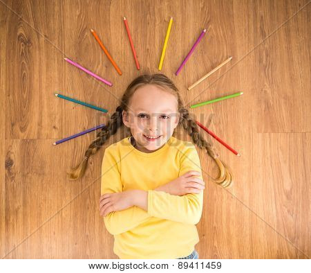 Girl With Pencils