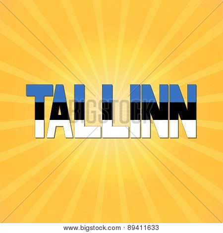 Tallinn flag text with sunburst illustration