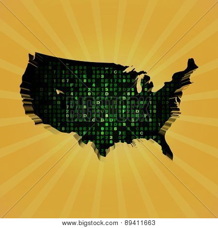 USA sunburst map with hex code illustration