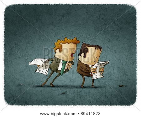 businessmen read newspaper