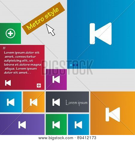 Fast Backward Icon Sign. Metro Style Buttons. Modern Interface Website Buttons With Cursor Pointer.