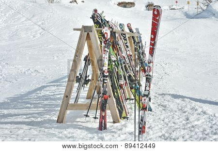 Rack Of Ski Equipment