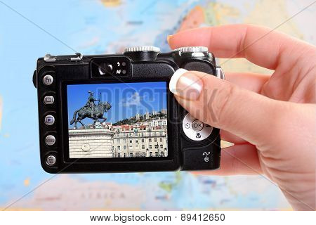 Taking Picture Of Lisbon Portugal