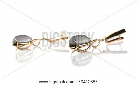 Gold Earrings With Smoky Quartz