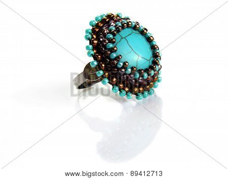 Ring With Turquoise And Beds