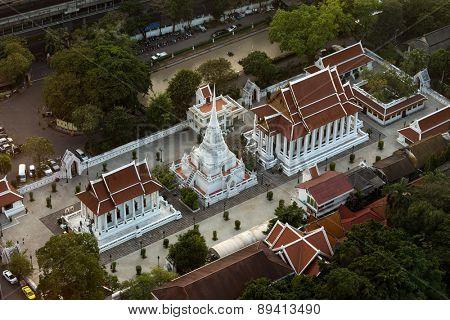 Wat pathum wanaram temple in Bangkok, aerial view from the Centara Grand tower, Bangkok