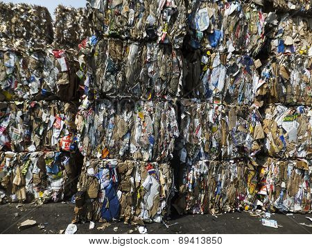 TYCHY, POLAND  April 30, 2015: heap of waste paper