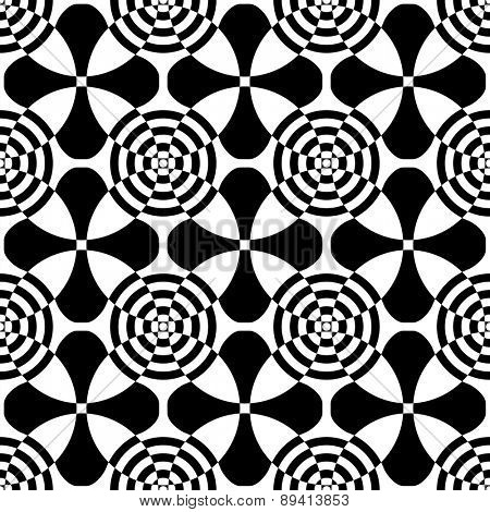 Seamless Circle and Cross Pattern. Vector Regular Texture