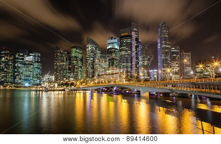 Singapore Cityscape At Night On The Marina Bay