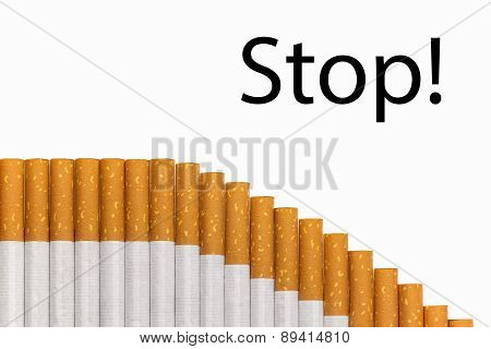 Stop Smoking Text Graph Of Cigarettes