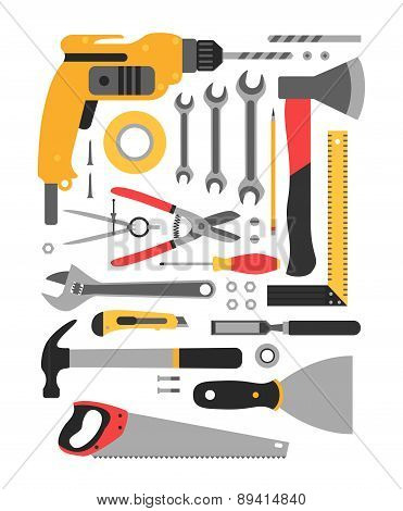 Set of construction tools.