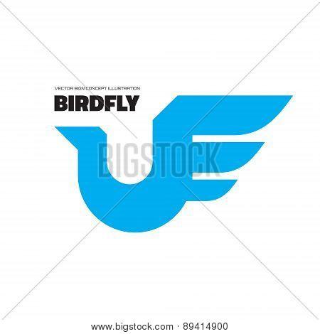 Birdfly - vector logo concept illustration.