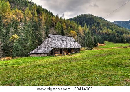 Hut In A Clearing In The Mountains.
