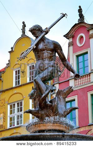 Famous Neptune fountain in Gdansk, Poland.