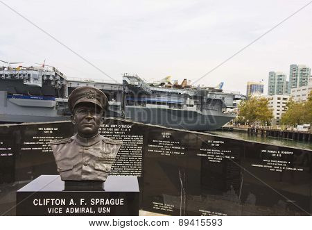 Memorial To Clifton Sprague Next To The Uss Midway In San Diego