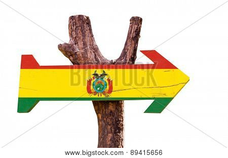 Bolivia Flag wooden sign isolated on white background