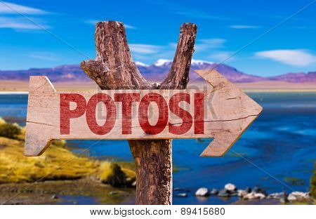 Potosi wooden sign with Laguna Corada background