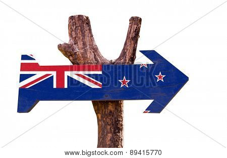 New Zealand Flag wooden sign isolated on white background