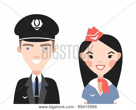 The pilot and flight attendants vector set.