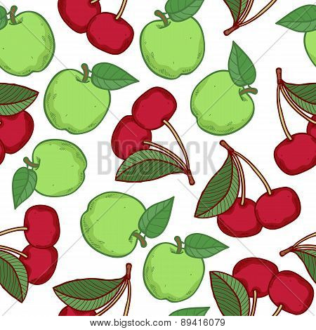 Apples and cherries seamless pattern.