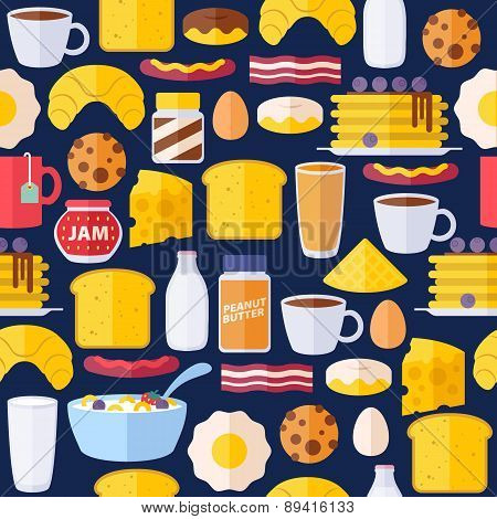 Breakfast icons seamless colorful pattern.