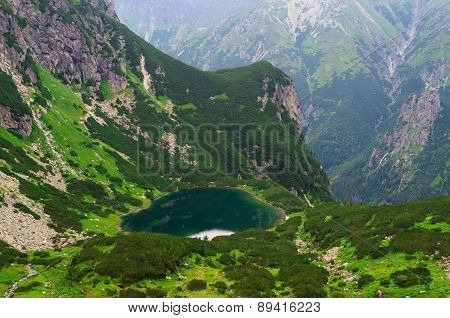 Lake in summer mountains.