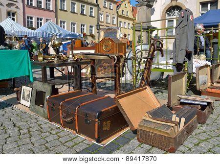 Flea market in Jelenia Gora, Poland.