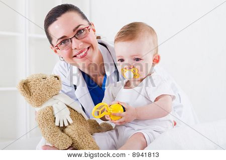 paediatrician and baby
