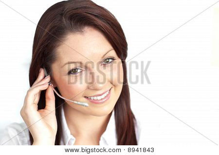 Delighted Young Businesswoman Wearing Headphones