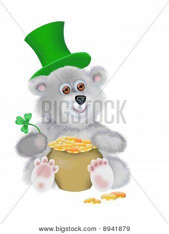 Urso de pelúcia com o pote de dinheiro