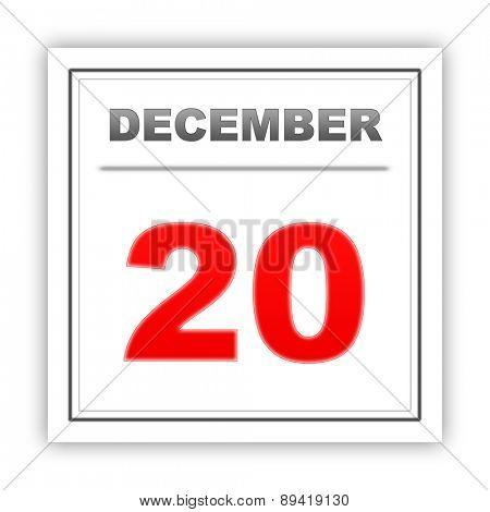 December 20. Day on the calendar. 3d